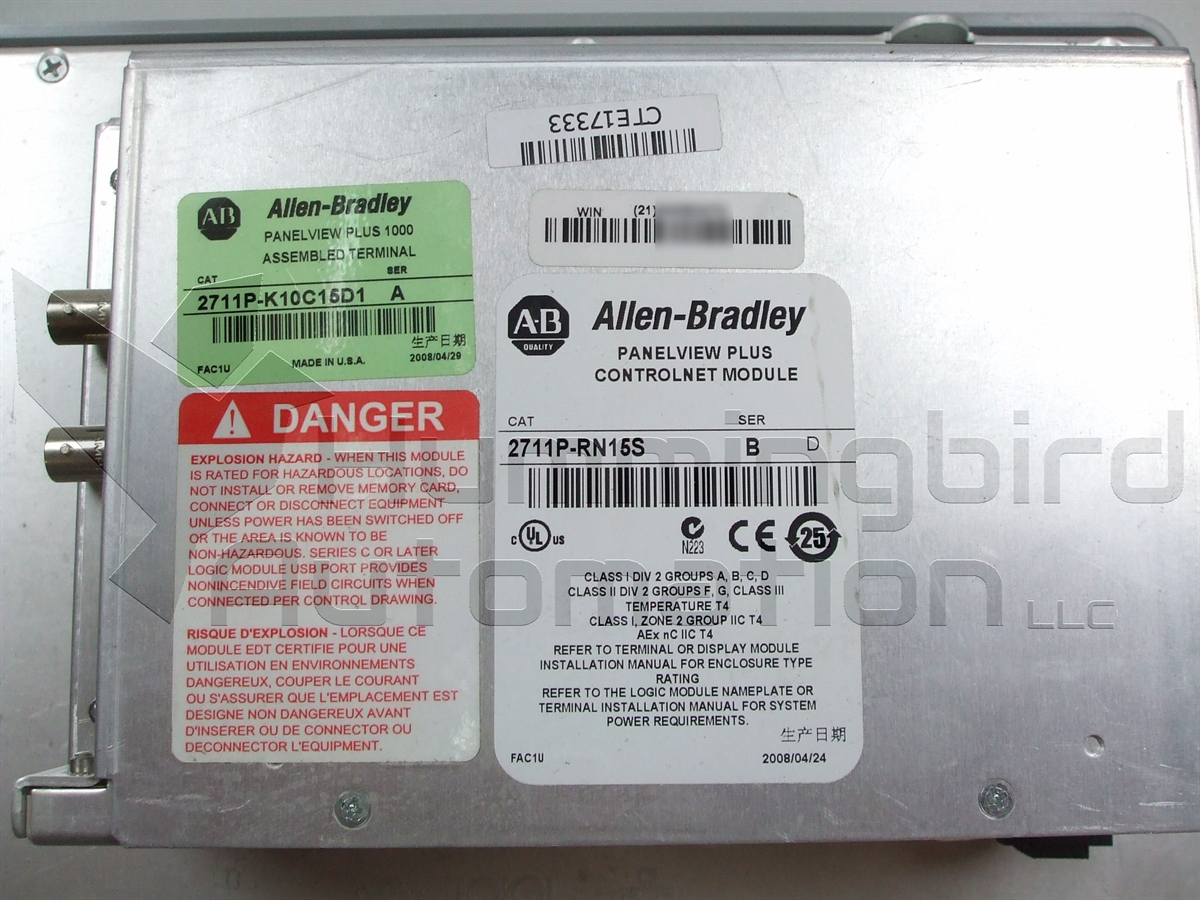 Details about Allen Bradley 2711P-K10C15D1 PanelView Plus 1000  Key/Ethernet/RS232/ControlNet